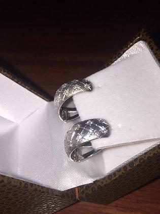 18K White Gold & Diamond Hoop Earrings