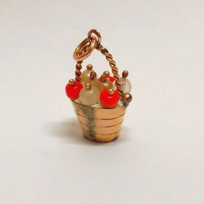 Gold & Enamel Charm/Pendant in a Shape of Basket of Berries