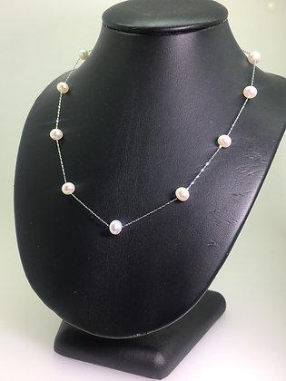 18K White Gold & Pearl Italian Chain Necklace