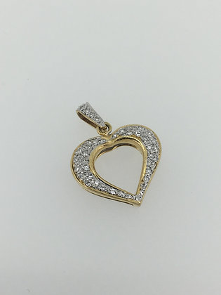 18K Gold and Diamond Heart Pendant