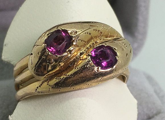 Snake Shaped Amethyst Ring in 9K Rose Gold. Chester, c1889.