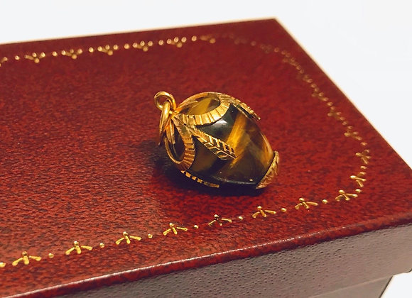 18K Yellow Gold Tiger Eye Egg Charm/Pendant