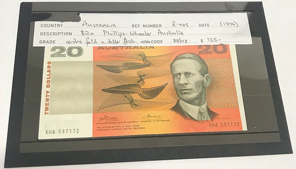 An Australian $20 Phillips-Wheeler Banknote. R-405, c 1974.