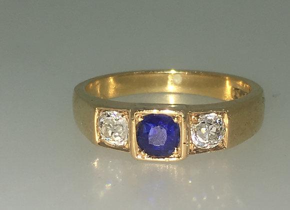 An Antique Three-Stone Sapphire & Diamond Ring