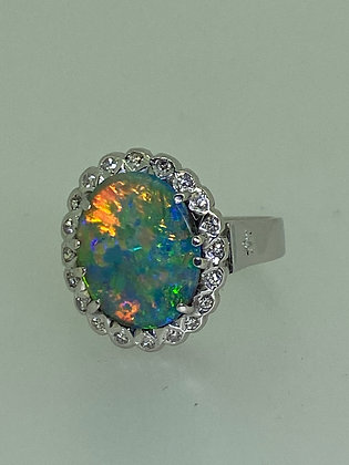 4.00ct Black Solid Australian Opal & Diamond Ring