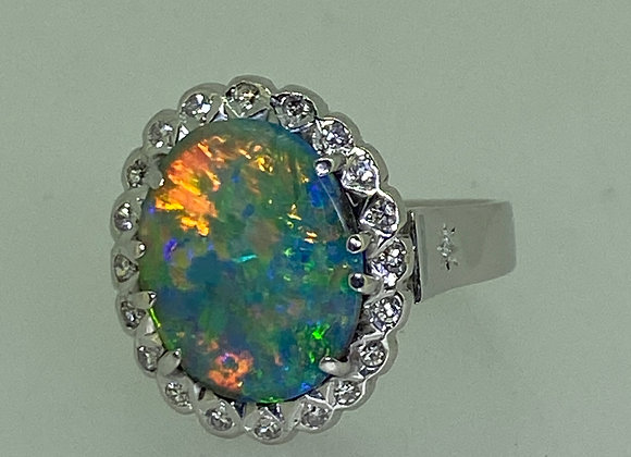 4.00ct Black Solid Australian Opal & Diamond Ring