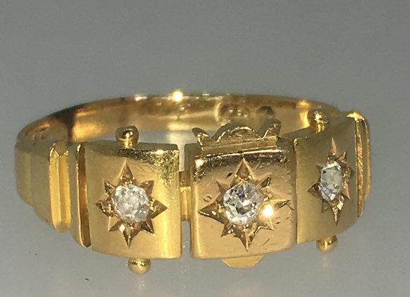 3-Stone Old Cut Diamond Ring in 18K Gold
