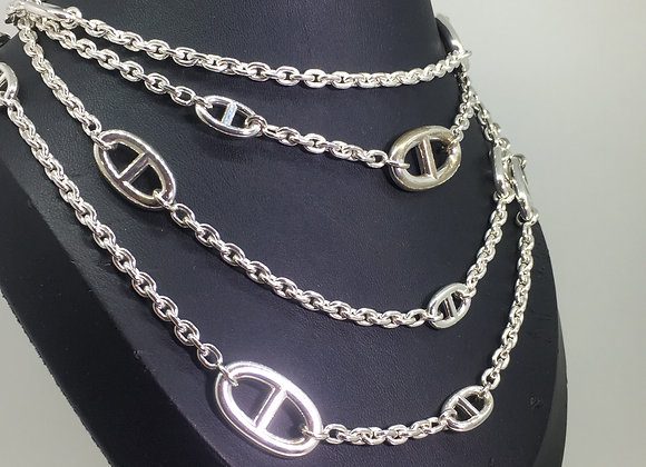 Hermes Farandole Extra Long Silver Necklace