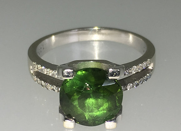 3.00ct Green Tourmaline & Diamond Ring in 18K White Gold