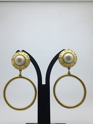 Givenchy Paris Vintage Gold Plated and Faux Pearl Hoop Clip-ons Earrings