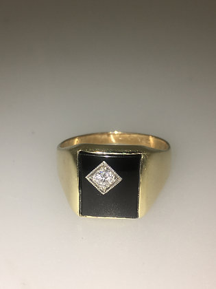 Gold, Diamond & Black Onyx Mens' Signet Ring