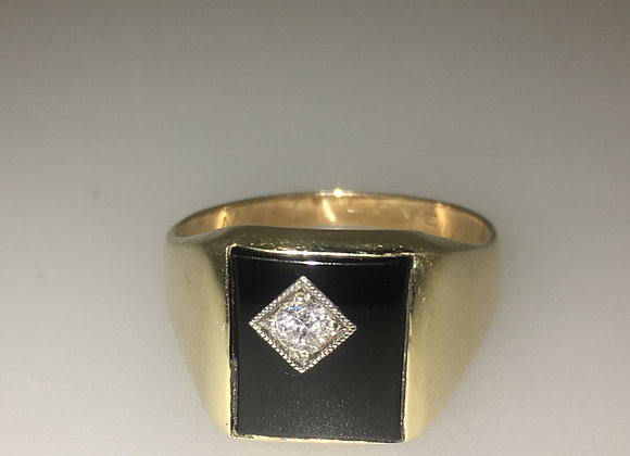 Gold, Diamond & Black Onyx Mens' Signet Ring