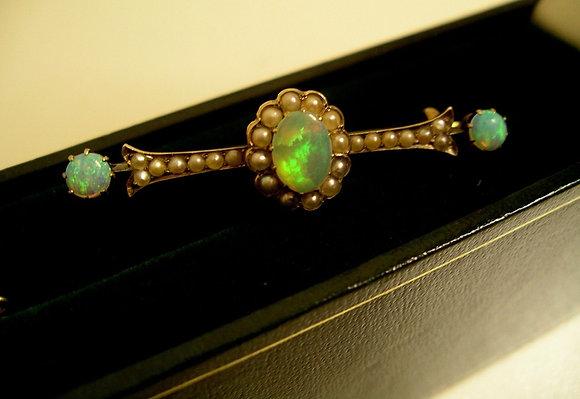 Opal, 15K Gold & Pearl Brooch