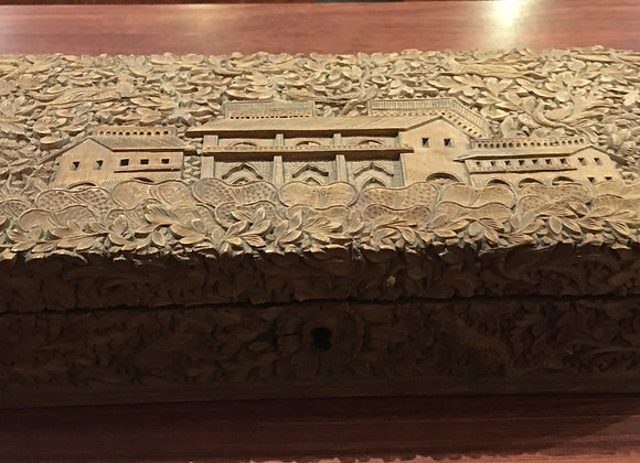An Antique XIXc Indian Carved Sandalwood Box