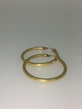 18K Yellow Gold Round Hoop Earrings