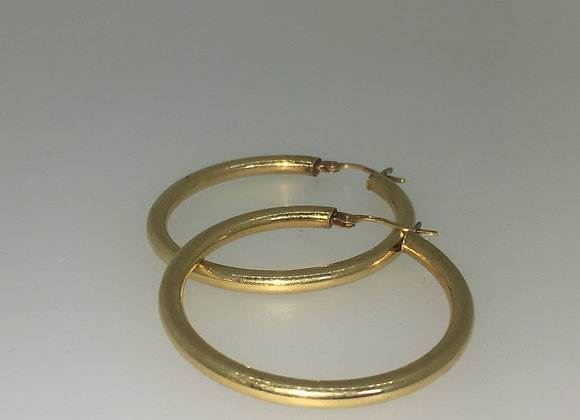 18K Yellow Gold Round Hoop Earrings