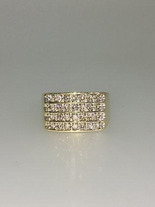 9K Yellow Gold & 4-Row 1.20ct Diamond Handmade Mens' Ring