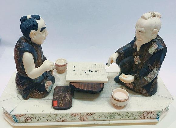 """An Antique (Meiji era) """"Go Players"""" Okimono"""