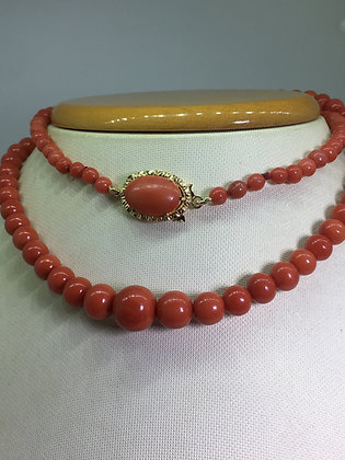 Antique Mediterranean Oxblood Natural Coral & 18K Gold Bead Necklace