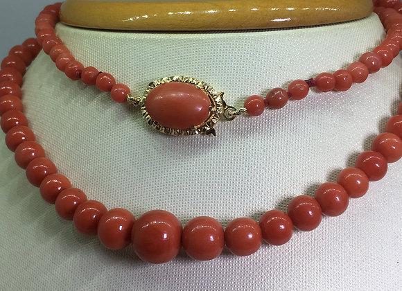 Antique Mediterranean Oxblood Natural Coral & 18K Gold Bead Necklace