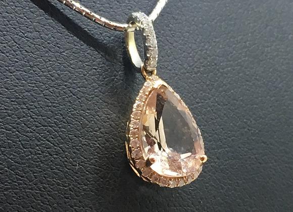 Drop-Shaped Morganite & Diamond Pendant on 18K Gold Chain