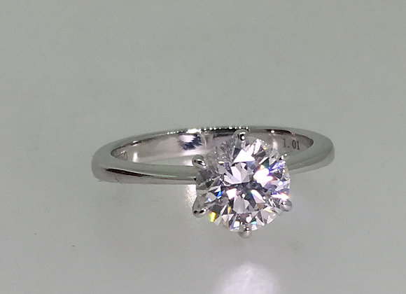 1.01ct Solitaire Diamond Ring in 18K White Gold, G/I1