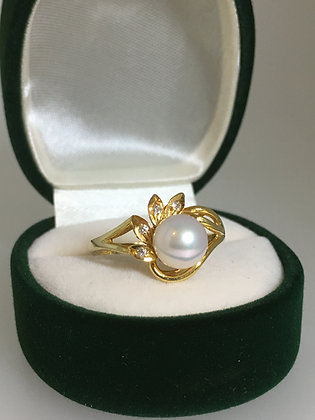 7.1mm Pearl & Diamond Ring in 14K Yellow Gold