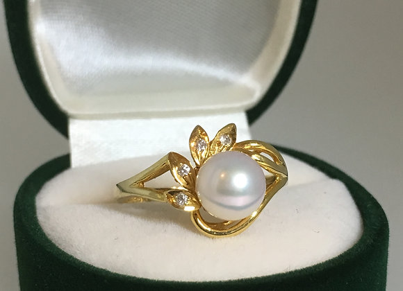 7.1mm Pearl & Diamond Ring in 14K Yellow Gold