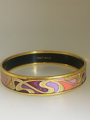 Enamel & 18K Gold-Plated 14mm Bangle by Frey Wille
