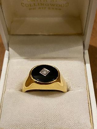 Black Onyx & 0.15ct Diamond Signet Ring In 18K Yellow Gold.