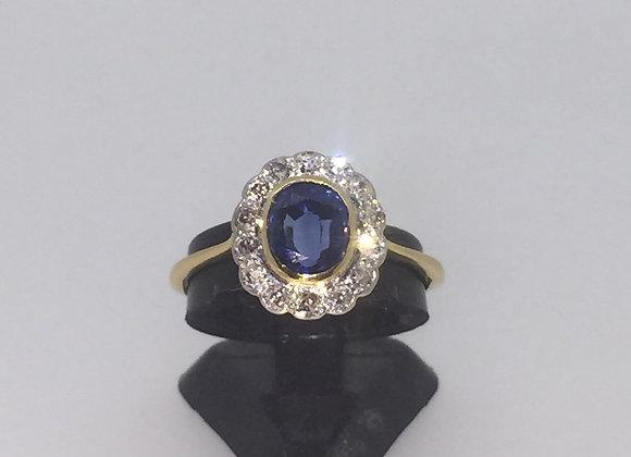 Art-Deco Sapphire & Diamond ring