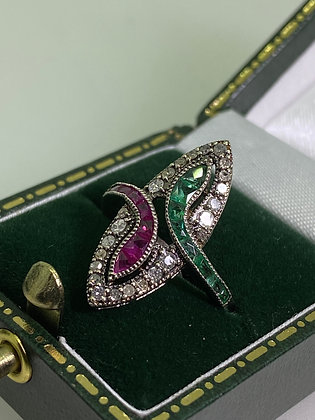 Vintage Ruby, Emerald & Rose Cut Diamond Ring in Silver Gilt