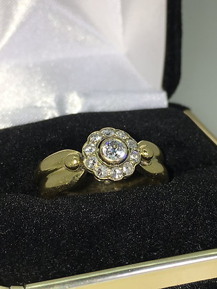 Daisy/Flower Shaped Old European Cut Diamond Ring