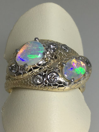 Opal, Gold & Diamond Victorian Style Double Snake Ring