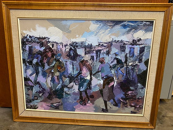 W. Mandla Koboka (South African) - Soweto Township - Oil on Canvas Painting