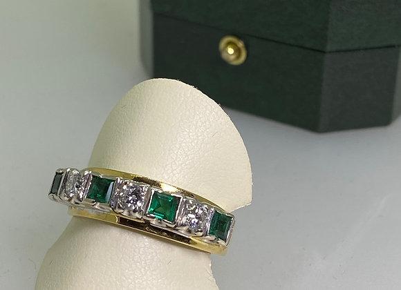 Emerald & Diamond Half Hoop Ring in Platinum & 18ct Yellow Gold