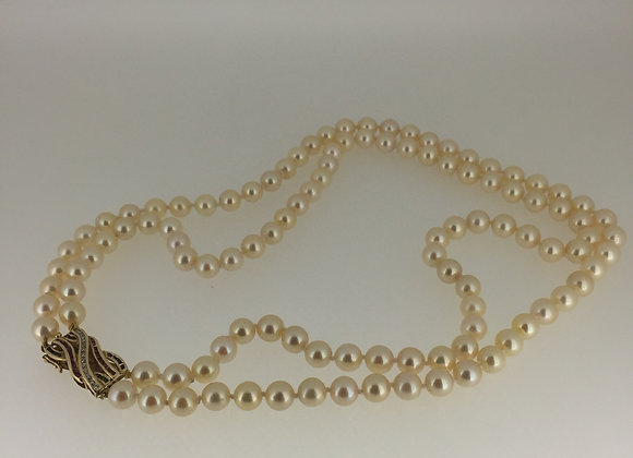 Double Strand Natural Pearl Necklace
