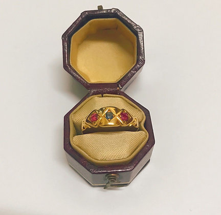 An Antique Three-Stone Ruby & Sapphire Ring in 18K Yellow Gold