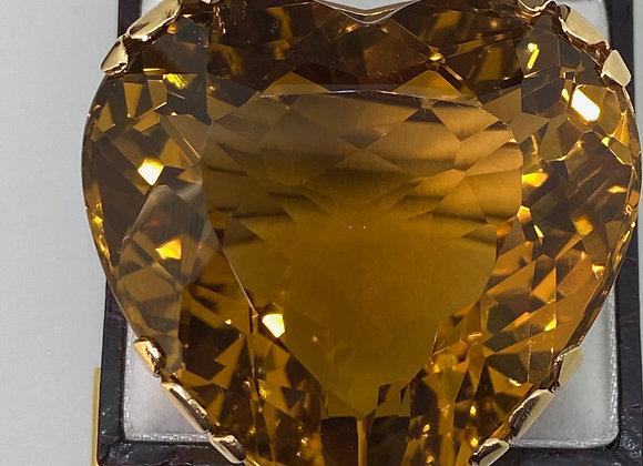 221.5ct Natural Golden Orange Citrine Brooch in 18K Gold