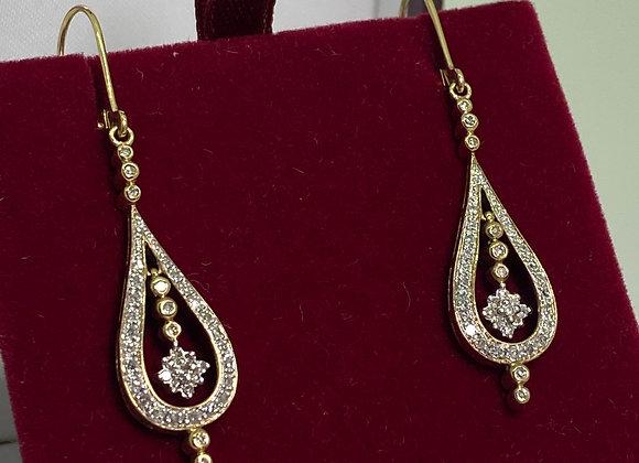 14K Yellow Gold & Diamond Vintage Continental Teardrop Dangle Earrings