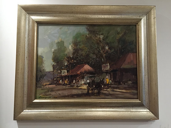 """Painting """"Cottages and Figures"""" by C.Nice"""