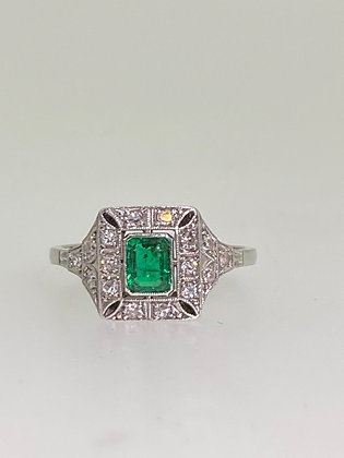 0.40ct Colombian Emerald, Old-Cut Diamond Ring in Platinum/18K Gold