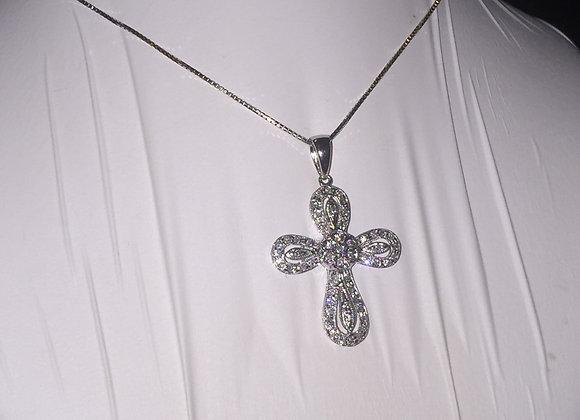 18K White Gold & Diamond Crucifix/Cross Pendant