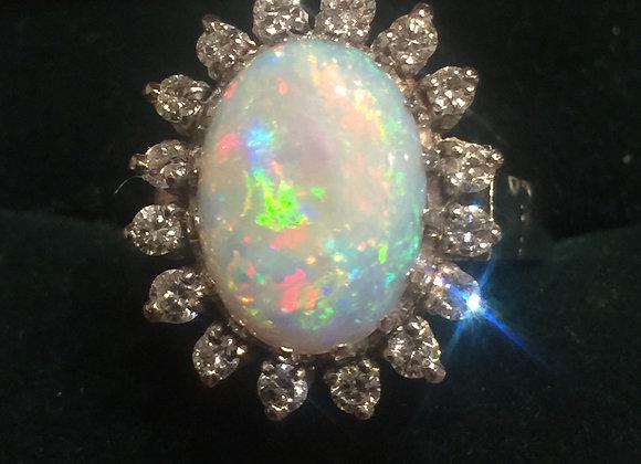 4.6ct Solid Dark Opal & Diamond Cluster Ring