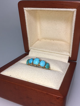 5 Stone Turquoise 18K Yellow Gold Ring