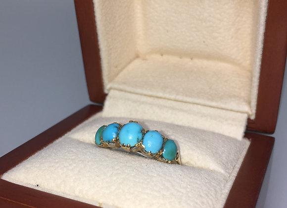 5 Stone Turquoise 18K Yellow Gold Ring