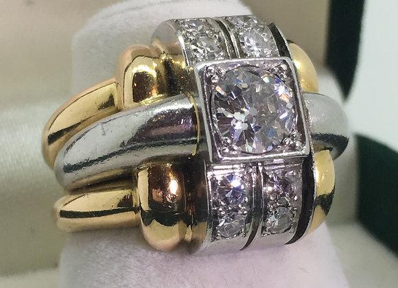 c1940's Cocktail Diamond Ring in Platinum & 18K Pink Gold