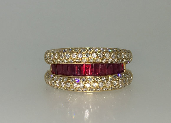 1.50ct Ruby & Diamond Cocktail Ring in 18K Yellow Gold