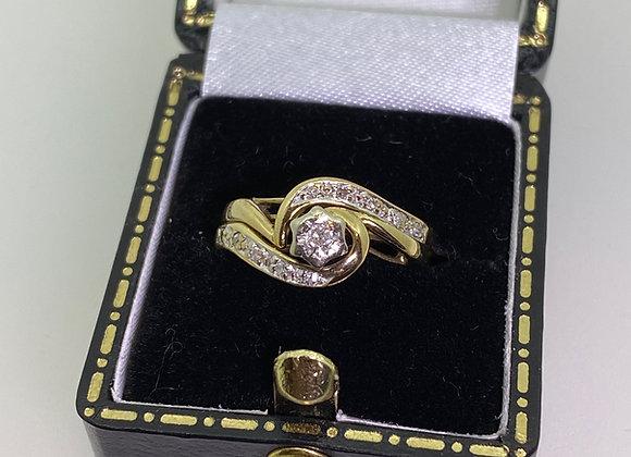 9K Yellow Gold & Diamond Set: 0.15ct Diamond Engagement Ring & Wedding Band.
