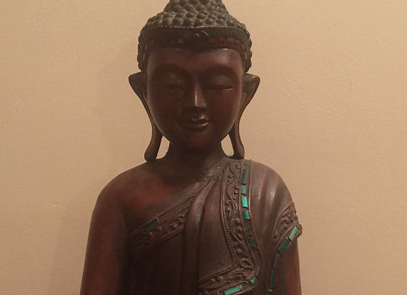Wooden Statue of Standing Buddha inlaid with colored stones